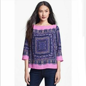 Adrianna Papell Pink Blue Scarf Print Blouse